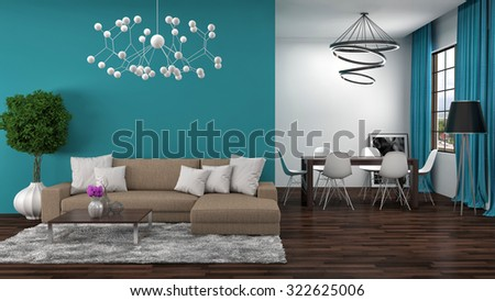 interior with brown sofa. 3d illustration - stock photo