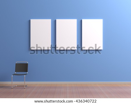 Interior with chair for visitors or staff member, posters template with clean blank for branding design or advertising on blue wall. Paintings frame set mock up in museum or gallery. 3d illustration