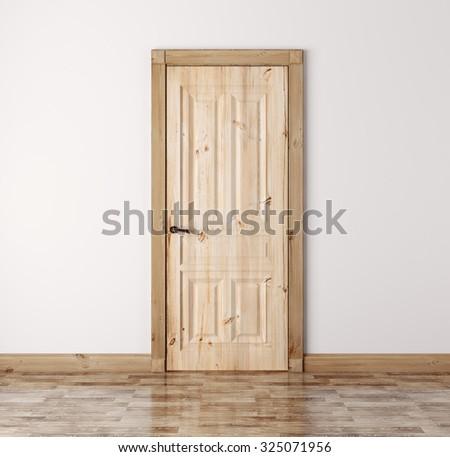 Interior with classic natural pine wood door 3d render - stock photo