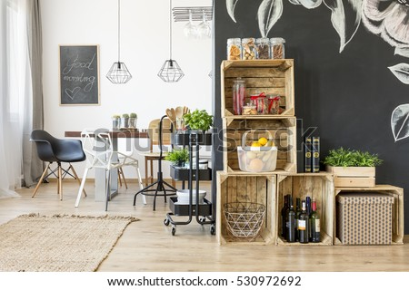 Interior With Dining Table And Diy Crate Shelves