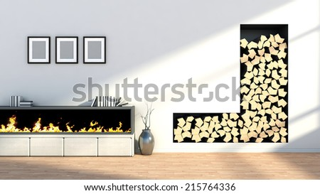 interior with fireplace, a vase and empty pictures