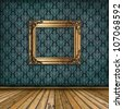 interior with golden frame on the wall. vintage wallpaper, wooden floor - stock photo