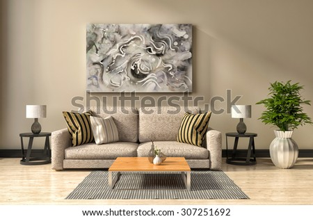 interior with grey sofa. 3d illustration - stock photo