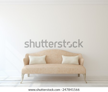Interior with modern pink couch near white wall. 3d render. - stock photo