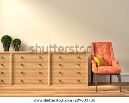 Interior with pink armchair with plant. 3d illustration - stock photo