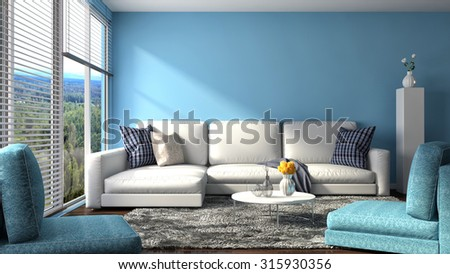 interior with sofa. 3d illustration - stock photo