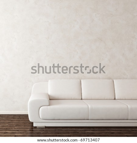 Interior with sofa near white wall - stock photo