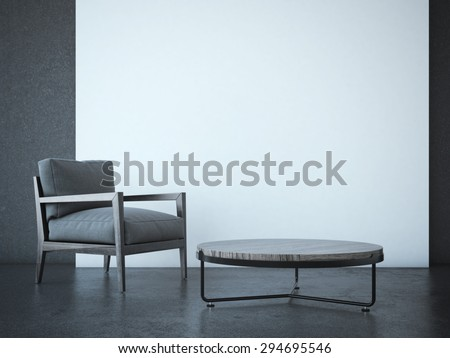 Interior with table and armchair. 3d rendering - stock photo