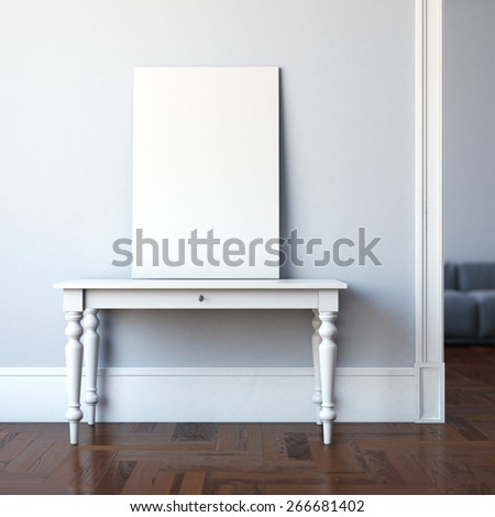 Interior with table and blank canvas. 3d rendering - stock photo