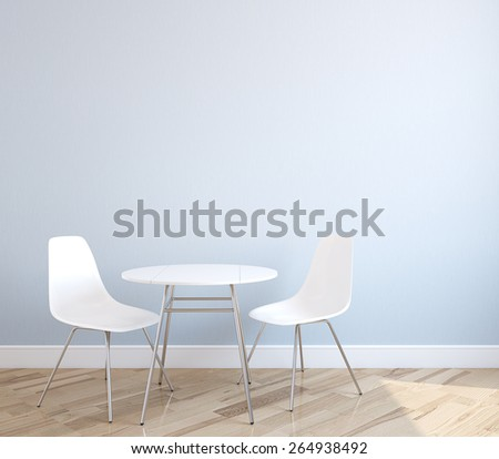 Interior with table and two white chairs near empty blue wall. 3d render. - stock photo