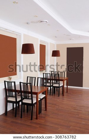 Interior with the image of an empty cafe tables