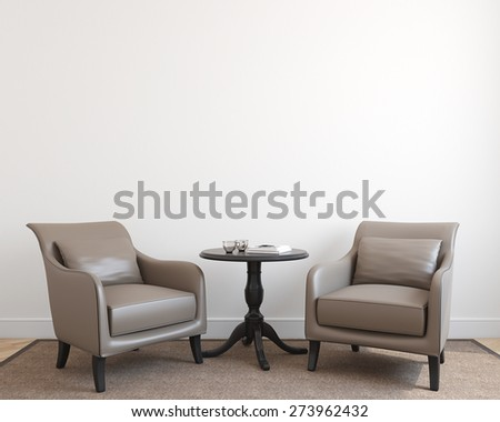 Gentil Interior With Two Armchairs. 3d Render.