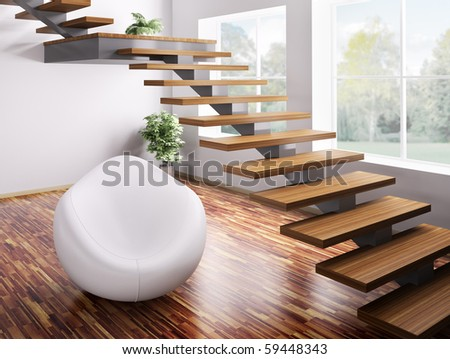 Interior with white armchair and wooden staircase 3d render - stock photo