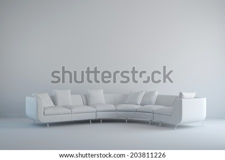 Interior with white sofa indoors in a big room - stock photo