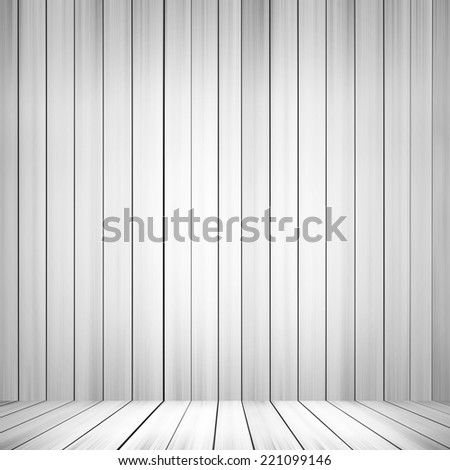 interior with wood floor and white  wood background - stock photo