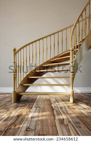 Interior with wooden stairs in a room with parquet flooring (3D Rendering) - stock photo