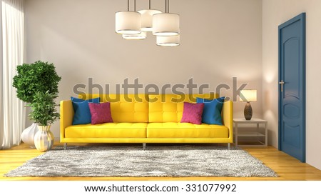 Living Room Yellow Sofa yellow sofa living room stock photo 401538130 - shutterstock
