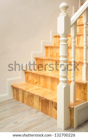 Interior - wood stairs and handrail - stock photo