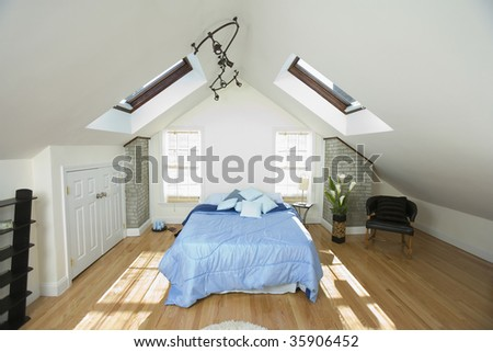 Interiors of a bedroom - stock photo