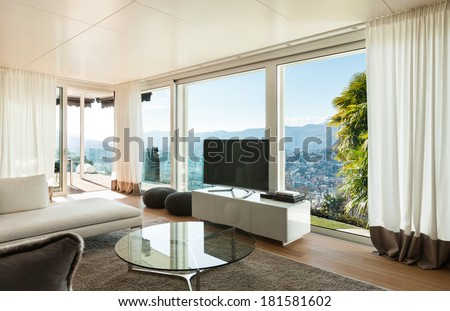 interiors of a modern house, living room - stock photo