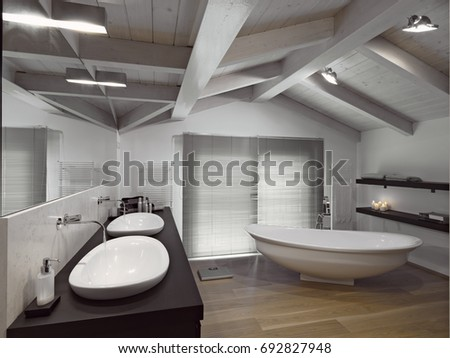 Interiors Shots Of A Modern Bathroom In The Attic Room With Wooden Ceiling And Wood Floor
