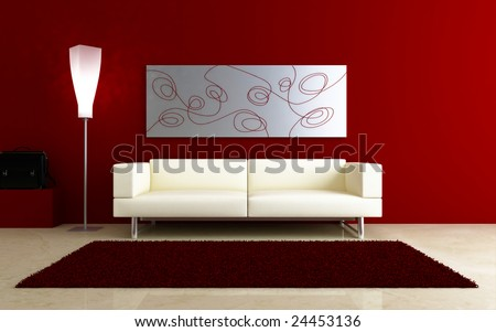 interiors - White couch in red room