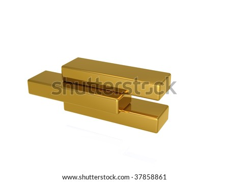 interlaced gold bars - stock photo