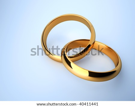 interlocked wedding rings over blue background 3d render - Interlocking Wedding Rings