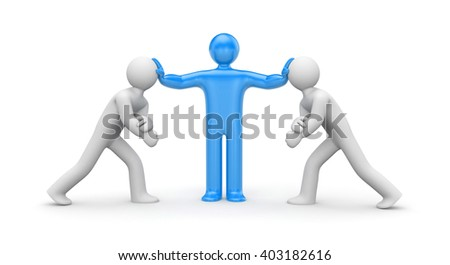 Intermediary in the conflict decision. 3d illustration - stock photo