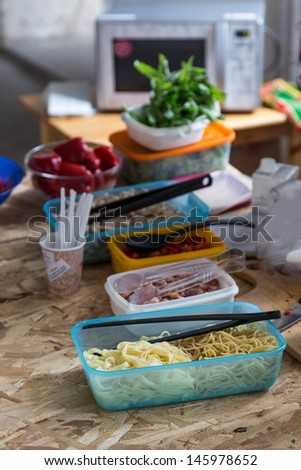 intermediates ingredients in box for cooking food on table - stock photo
