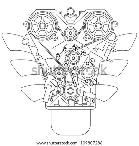 Internal combustion engine, as seen from in front.  illustration. - stock photo