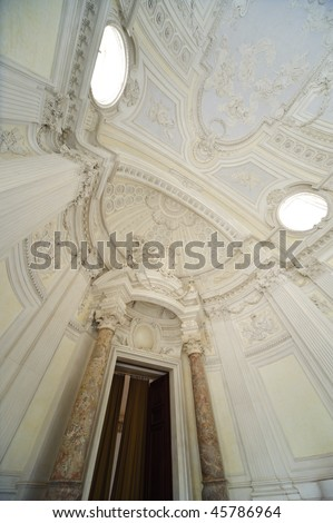 internal detail royal palace Reggia di Venaria - Turin - stock photo