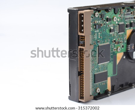 Internal Hard disk drive IDE interface HDD upside down showing controller close up HDD - Hard Drive Disk isolated on white background