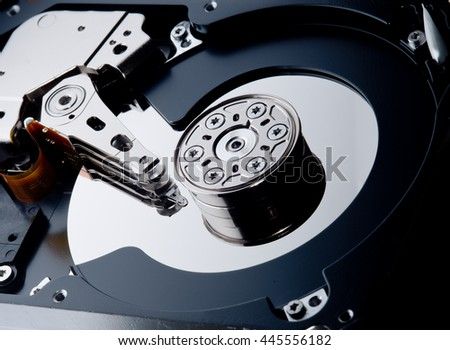 internal hard disk inside of the computer case - stock photo