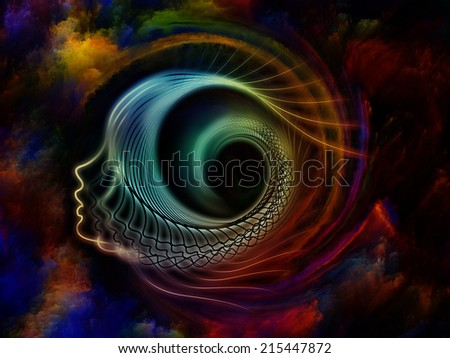 Internal Recurrence series. Abstract design made of human profile and fractal forms on the subject of inner reality, mental health, imagination, thinking and dreaming - stock photo