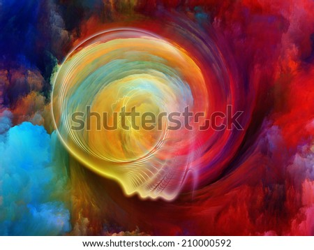 Internal Recurrence series. Interplay of human profile and fractal forms on the subject of inner reality, mental health, imagination, thinking and dreaming - stock photo