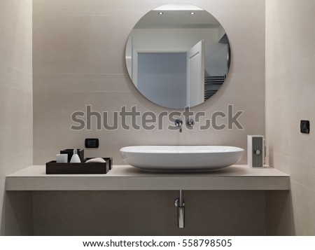 Internal shots modern bathroom foreground counter stock photo 558798505 shutterstock