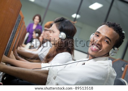 International African Chinese Students in study group in class at university. - stock photo
