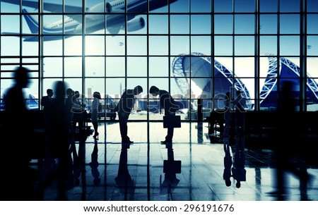 International Airport Business Travel Bow Down Concept - stock photo