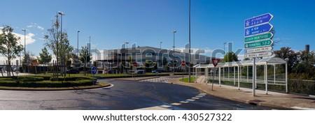 International Airport Terminal Exterior and Navigation Boards.Paris, France - September 22, 2015: View on Terminal 2G Exterior and Navigation Boards in Charles de Gaulle Airport (Paris, France). - stock photo