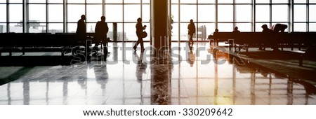 International Airport Traveling Airplane Airport Concept - stock photo