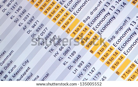 International arrivals / departure board panel at a airport in europe - stock photo