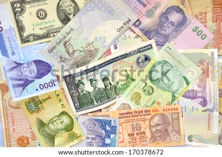 International banknotes - stock photo
