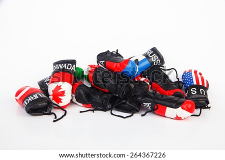 International Boxing Gloves on white background