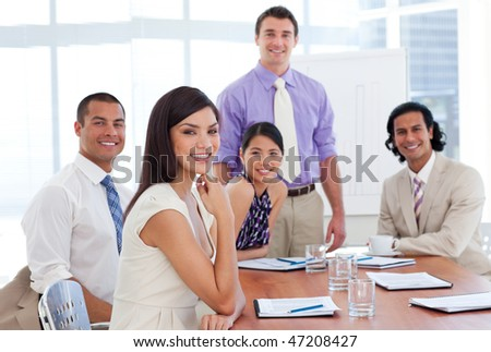 International business associates in a meeting. Business concept. - stock photo