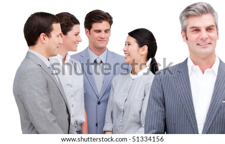 International business team  against a white background - stock photo