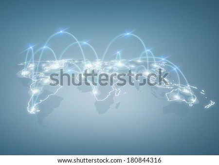 international business, technology and social networking concept - illustration of world map with digital connections between cities - stock photo