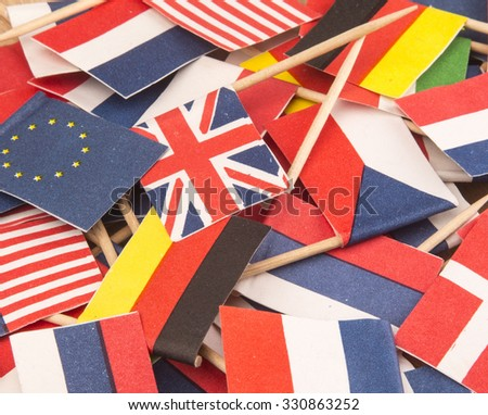International Business, world flags,little flags of different countries  - stock photo