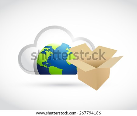 international cloud computing storage concept illustration design over white - stock photo