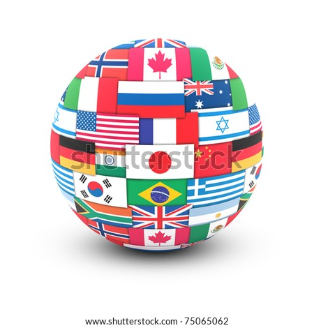 International communication concept. World flags on globe - stock photo